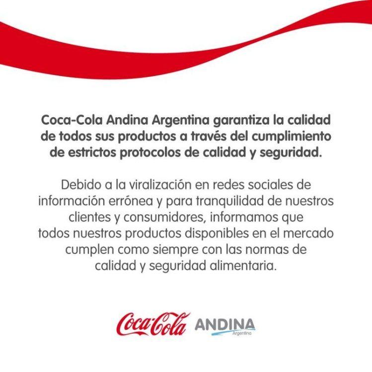 """Coca-Cola aclaró la situación tras el viral que circula con información """"errónea"""""""